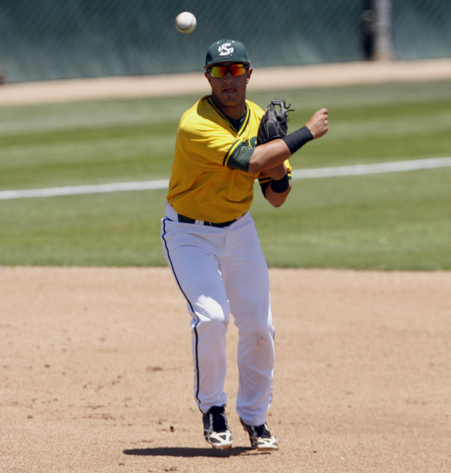 Photo - Sacramento State third baseman Will Soto throws to first during the first inning of an NCAA college baseball tournament regional game against Cal Poly on Sunday, June 1, 2014, at Baggett Stadium at Cal Poly in San Luis Obispo, Calif. (AP Photo/Aaron Lambert)