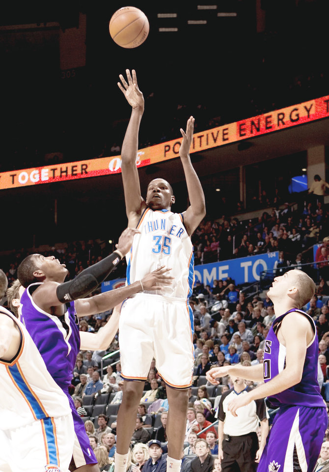Thunder star Kevin Durant is becoming more comfortable in a leadership role.  PHOTO BY BRYAN TERRY,  THE OKLAHOMAN