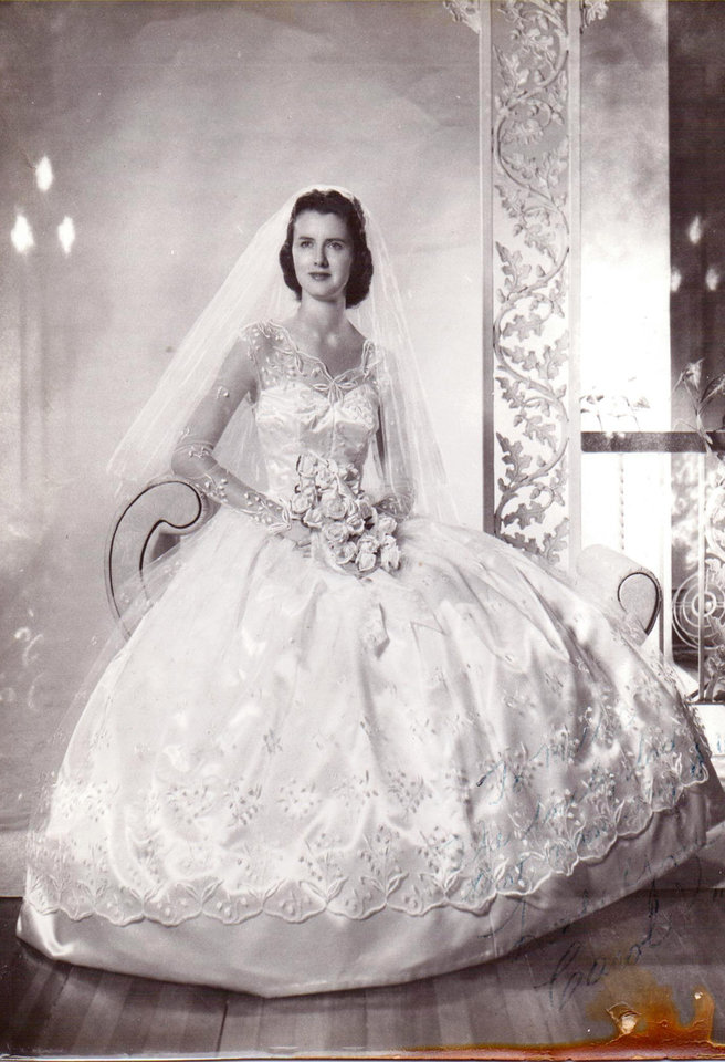 Photo - WEDDING DRESS: Carol Kay Wheeler Ward found the Vogue pattern for her wedding gown at an Oklahoma City store. Ward picked out the fabric while in Oklahoma City in just a few minutes Her daughter, Prentice Redman, said is humorous because she is very indecisive. On July 28, 1957, Ward said,
