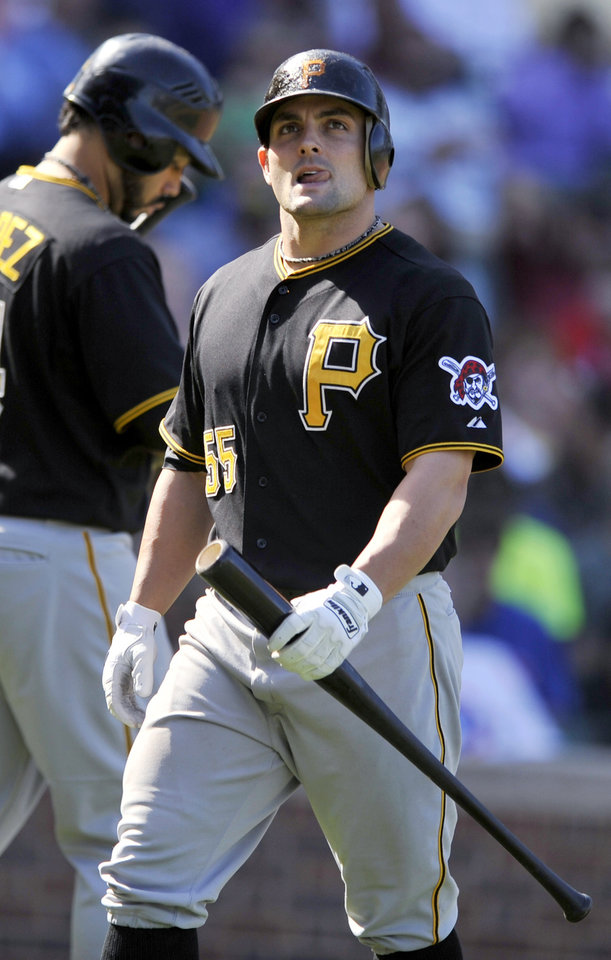 Photo -   Pittsburgh Pirates' Michael McKenry heads to the dugout after striking out in the fifth inning of a baseball game against the Chicago Cubs in Chicago, Friday, Sept. 14, 2012. Chicago won 7-4. (AP Photo/Paul Beaty)