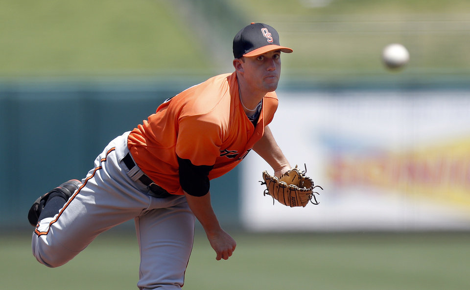 Oklahoma State\'s Mark Robinette throws a pitch during the Bedlam baseball game between the University of Oklahoma and Oklahoma State University at the Chickasaw Bricktown Ballpark in Oklahoma CIty, Sunday, May 12, 2013. Photo by Sarah Phipps, The Oklahoman