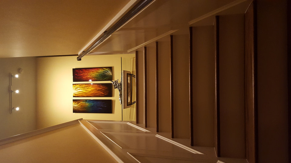ceiling mounted track lighting brought this painting series to life while adding drama to ceiling accent lighting