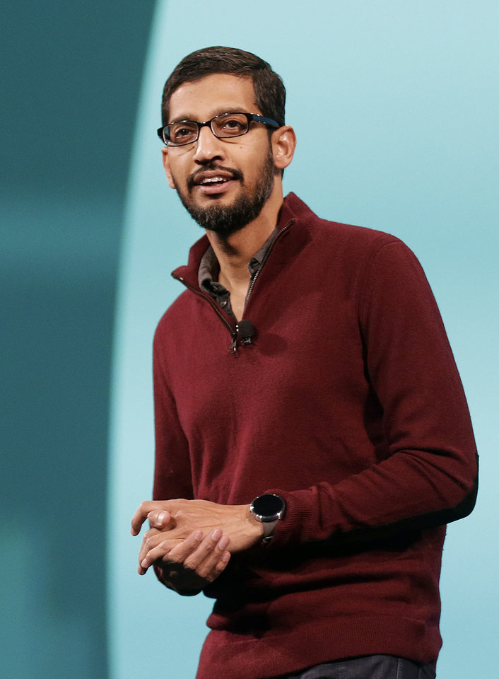 Photo - Sundar Pichai, senior vice president of Android, Chrome and Apps, speaks at the Google I/O 2014 keynote presentation in San Francisco, Wednesday, June 25, 2014. As Google's Android operating system stretches into cars, homes and smartwatches, this year's annual two-day developer conference will expand on its usual focus on smartphones and tablets. (AP Photo/Jeff Chiu)