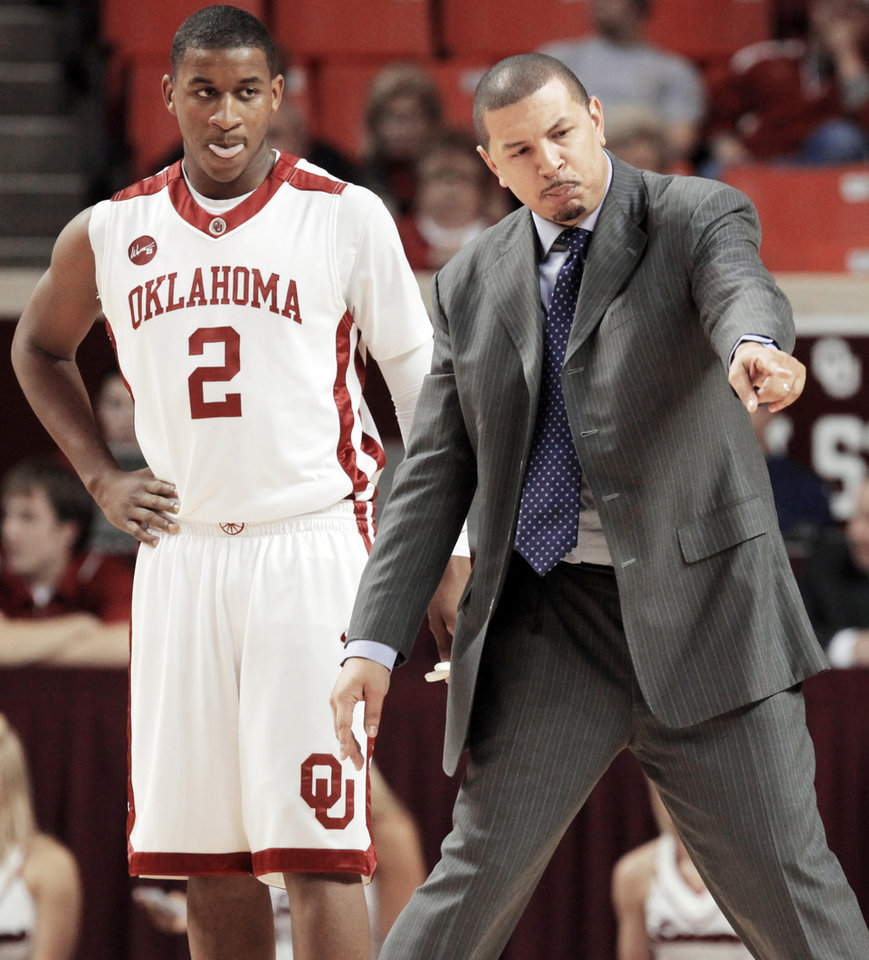 OU coach Jeff Capel, right, has talked a lot about his players' body language.  Photo by Nate Billings, The Oklahoman