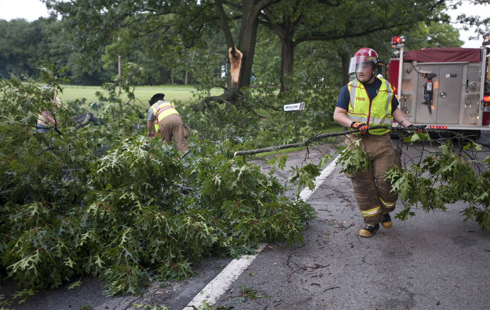 Photo - A concord firefighters remove parts of a tree after storms on Tuesday, July 1, 2014, in Jackson, Mich. Severe thunderstorms packing high winds knocked down trees and power lines across parts of Michigan, leaving more than 230,000 without power and injuring a firefighter. (AP Photo/The Jackson Citizen Patriot, J. Scott Park) ALL LOCAL TELEVISION OUT; LOCAL TELEVISION INTERNET OUT