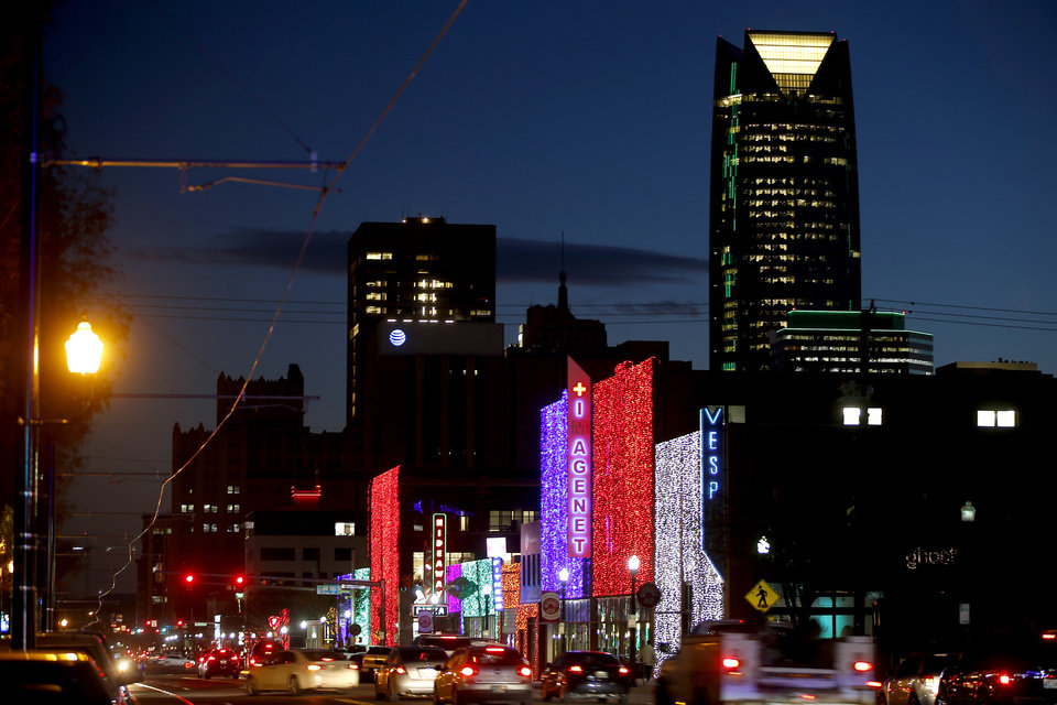 Photo - Holiday lights on display along Automobile Alley in Oklahoma City, Thursday, Nov. 29, 2018. [Bryan Terry/The Oklahoman archives]