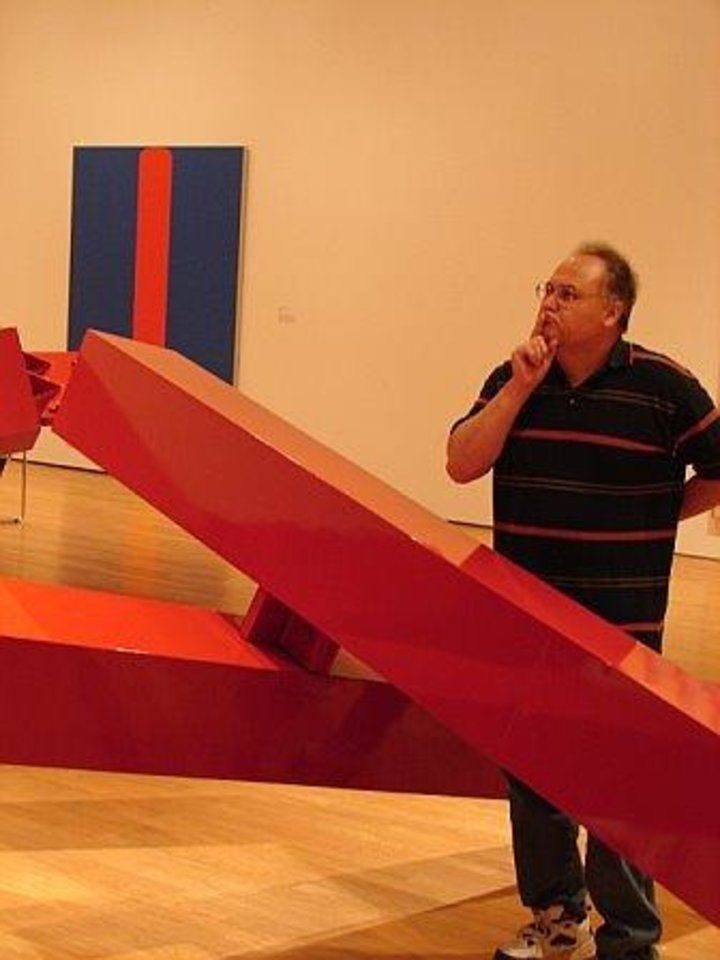 My hubby contemplating a very cool art piece at Museum of Art, Oklahoma City.<br/><b>Community Photo By:</b> Victoria Jimenez<br/><b>Submitted By:</b> Victoria, Harrah