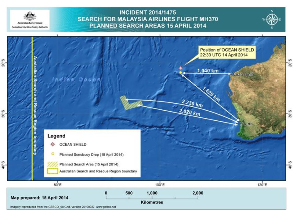 Photo - In this map provided on Tuesday, April 15, 2014, by the Joint Agency Coordination Centre details are presented in the search for the missing Malaysia Airlines Flight 370 in the southern Indian Ocean. The search area for the missing Malaysian jet has proved too deep for a robotic submarine which was hauled back to the surface of the Indian Ocean less than half way through its first seabed hunt for wreckage and the all-important black boxes, authorities said. (AP Photo/Joint Agency Coordination Centre) EDITORIAL USE ONLY