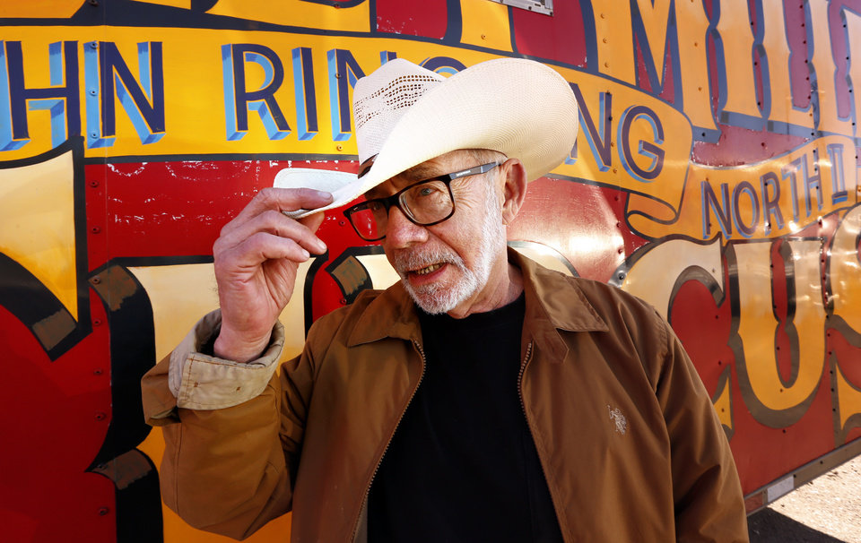 Photo -  John Ringling North II, 77, a descendant of the Ringling Brothers, talks Tuesday in Pauls Valley about his Hugo-based Kelly Miller Circus. North is retiring and has put the circus up for sale. [PHOTO BY STEVE SISNEY, THE OKLAHOMAN]