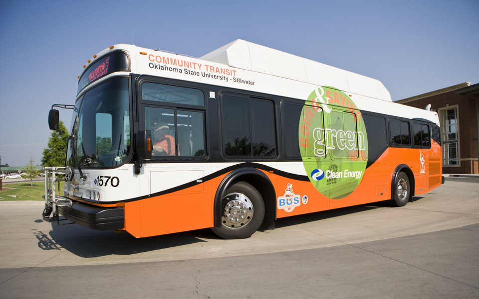 Photo - Most of Oklahoma State University's fleet of buses run on cleaner-burning compressed natural gas. Photo: Phil Shockley/University Marketing, OSU