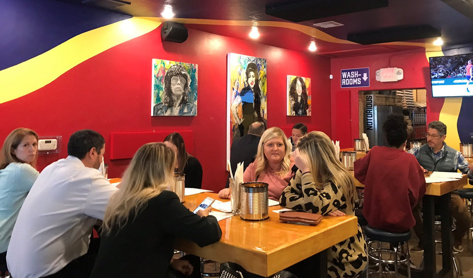 Photo - Lunch crowd gathering at Notorious P.I.E. in Norman. [Dave Cathey/The Oklahoman]