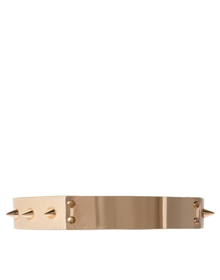 For a similar look as actress Leelee Sobieski donned at Paris Fashion Week, try the Asos plate-and-spike detail waist belt for $26.39. (Courtesy Asos.com via Los Angeles Times/MCT)