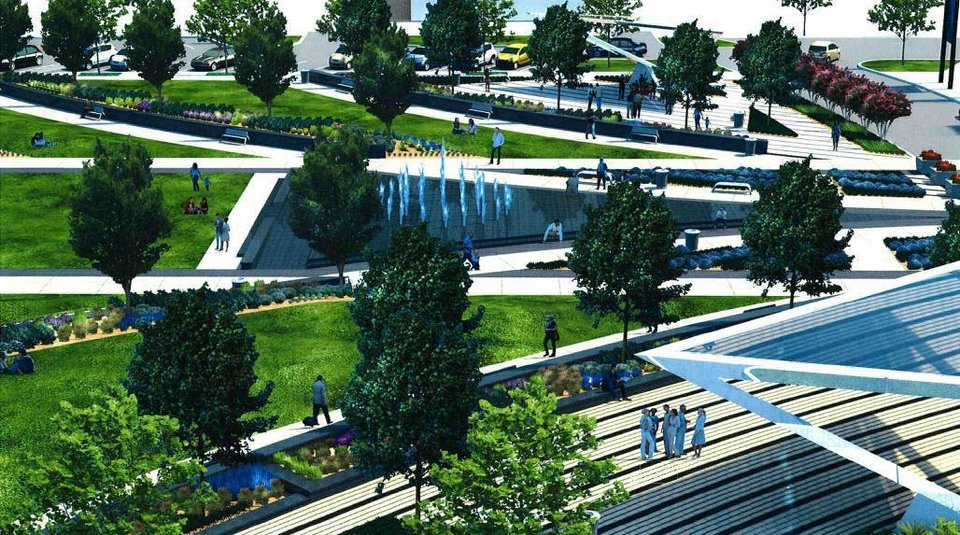 The makeover of the Civic Center park is shown in this rendering. <strong>Elliott Associates/PDG Inc.</strong>