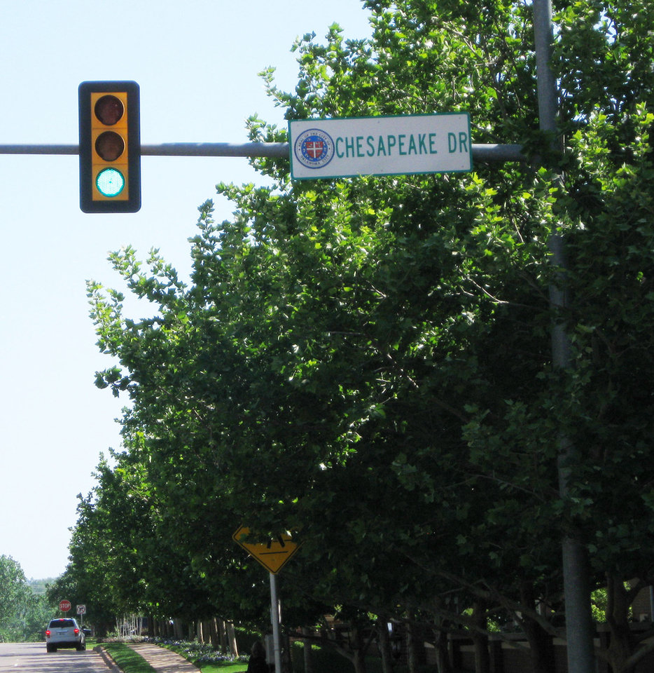 Photo - A street sign for Chesapeake Drive is seen at the Chesapeake Energy Corp. campus.