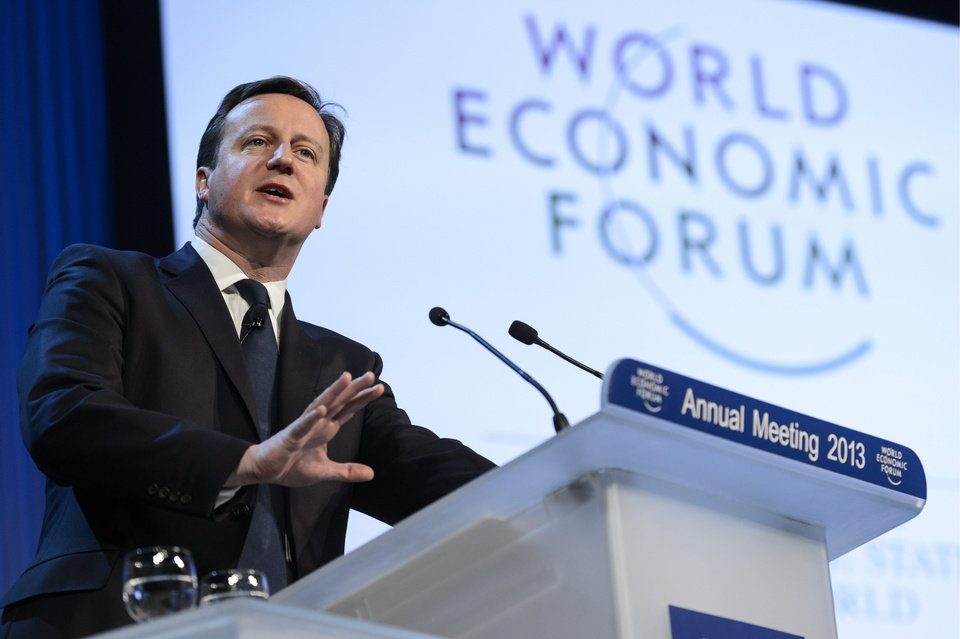 Photo - British Prime Minister David Cameron addresses a panel session of the 43rd Annual Meeting of the World Economic Forum, WEF, in Davos, Switzerland, Thursday, Jan. 24, 2013.  (AP Photo/Keystone, Laurent Gillieron)