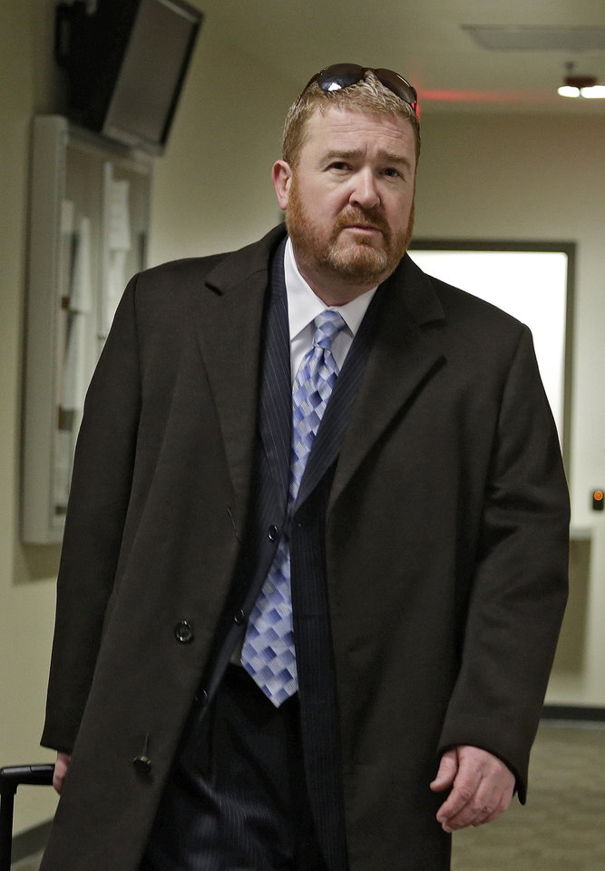 Defense attorney Daniel King arrives at district court for a hearing in the case of Aurora theater shooting suspect James Holmes in Centennial, Colo., on Monday, April 1, 2013. The prosecution announced  they will seek the death penalty against Holmes. (AP Photo/Ed Andrieski)