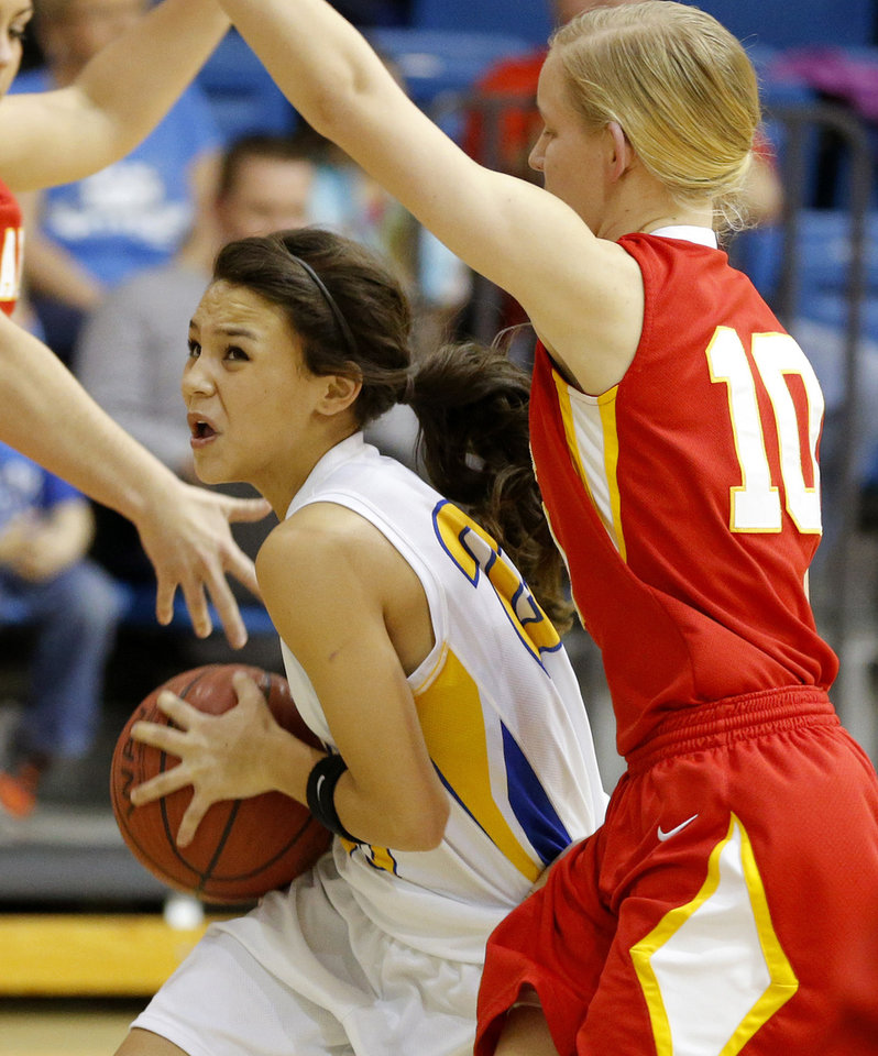 Bethel's Mikayla Whitten tries to get past Dale's Jaelin Flevellen during their girls high school basketball game at Bethel High School in Shawnee, Okla., Friday, Feb. 1, 2013. Photo by Bryan Terry, The Oklahoman