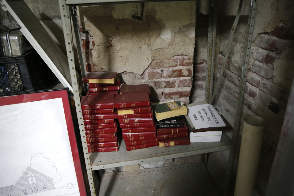 Photo - Bibles are pictured in the basement of the Vernon A.M.E Church in the Greenwood district in Tulsa, Okla., Wednesday, July 22, 2020. Photo by Sarah Phipps, The Oklahoman