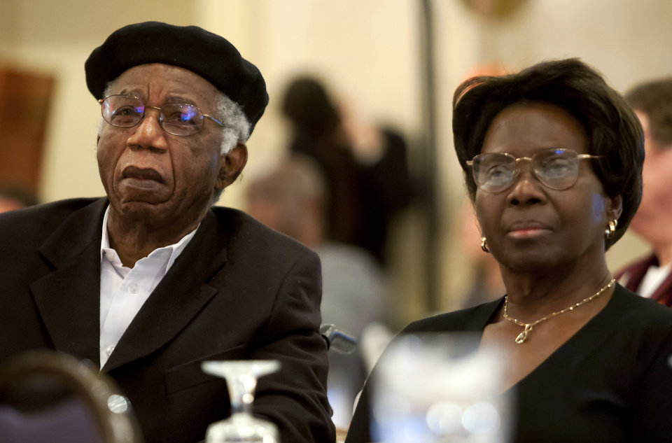 Photo - This 2010 photo provided by Brown University shows Chinua Achebe, left, with his wife Christie Achebe on campus in Providence, R.I. Achebe, an internationally celebrated Nigerian author, statesman and dissident, has died at age 82. Achebe's 1958 novel,