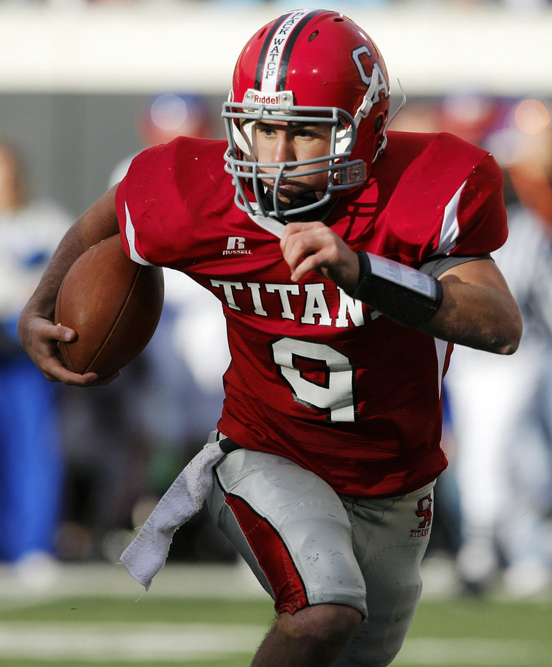 Carl Albert's J.T. Realmuto (9) carries the ball during the Class 5A state high school football championship game between Bixby and Carl Albert at Boone Pickens Stadium in Stillwater, Okla., Saturday, December 5, 2009. Carl Albert won, 21-7.  Photo by Nate Billings, The Oklahoman