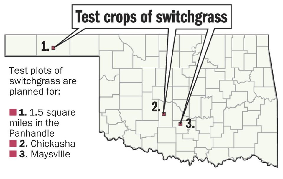 Photo - Graphic:  Map of test crops of switchgrass