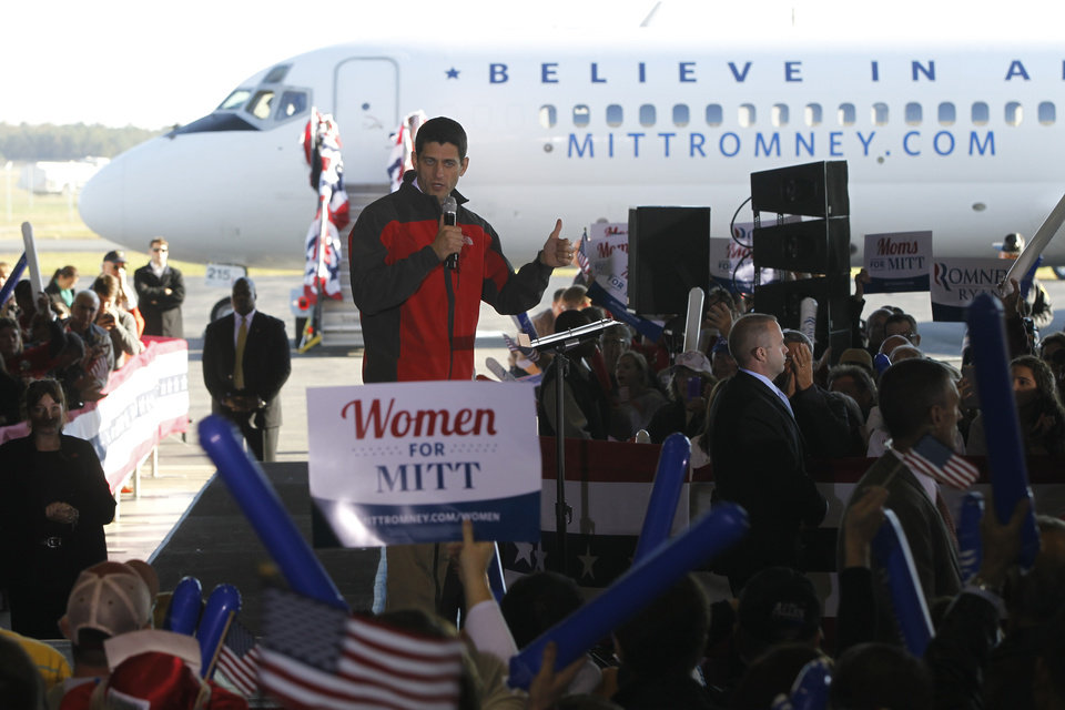 Republican vice presidential candidate, Rep. Paul Ryan, R-Wis., gestures as he speaks during a campaign event at Richmond International Airport,, Saturday, Nov. 3, 2012 in Richmond, Va. (AP Photo/Mary Altaffer)