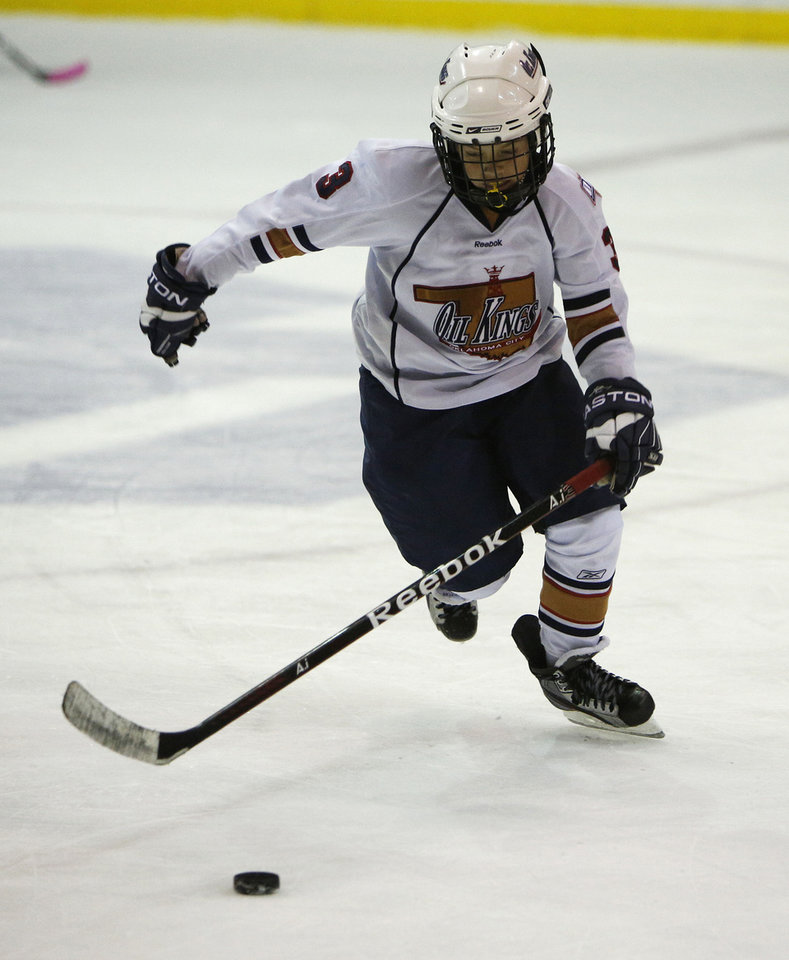 Tyler Ksiazak skates in a game between the Oklahoma City Oil Kings and the New Mexico Warriors.
