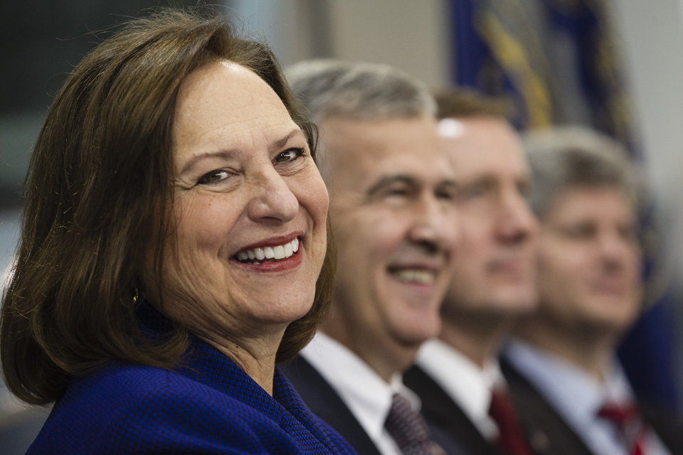 Republican Senate candidate Deb Fischer, left, smiles during an election rally in Omaha, Neb., Friday, Nov. 2, 2012, with from left: U.S. Sen. Mike Johanns R-Neb., Lt. Gov. Rick Sheehy and Rep. Jeff Fortenberry, R-Neb. Fischer is running against Democrat Bob Kerrey for the Senate seat of retiring Ben Nelson, D-Neb. (AP Photo/Nati Harnik)