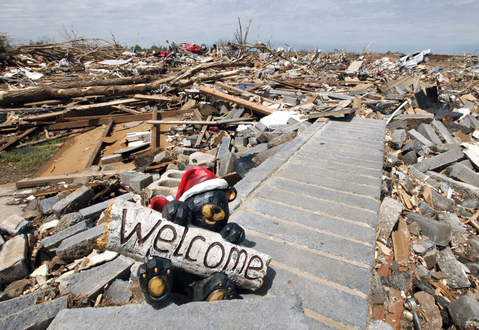 Photo - A welcome sign at what is left of a home in the tornado devastated part of Moore, OK, Thursday, May 23, 2013,  Photo by Paul Hellstern, The Oklahoman