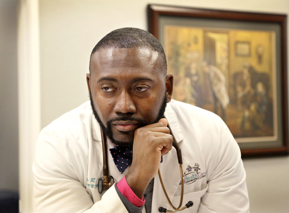 Family nurse practitioner Damarcus Nelson at Family HealthCare & Minor Emergency Clinic, 11109 Surrey Hills Blvd.  Photo by Jim Beckel, The Oklahoman <strong>Jim Beckel</strong>