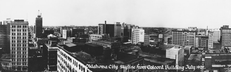 HISTORIC EARLY DAYS / OKLAHOMA CITY, OK / SKYLINE:  The 1927 photo, above, was taken from the Colcord building looking northeast.  The Hales building on Main Street is at left, Skirvin Plaza hotel is visible in center background, and Huckins Hotel is at left center.  At right, this 1982 view also was made from the Colcord building looking northest, with new buildings hiding most of the remaing landmarks.  The intersection shown is Main and Robinson.  The top of the Skirvin Plaza is visible, and Sheraton Century Center at right.  Published on 11/14/1982 in The Daily Oklahoman.     (note absence of First National bank and Ramsey Tower.)  Published on 04/16/1989 in The Daily Oklahoman in the Special Centennial section, Century Section.