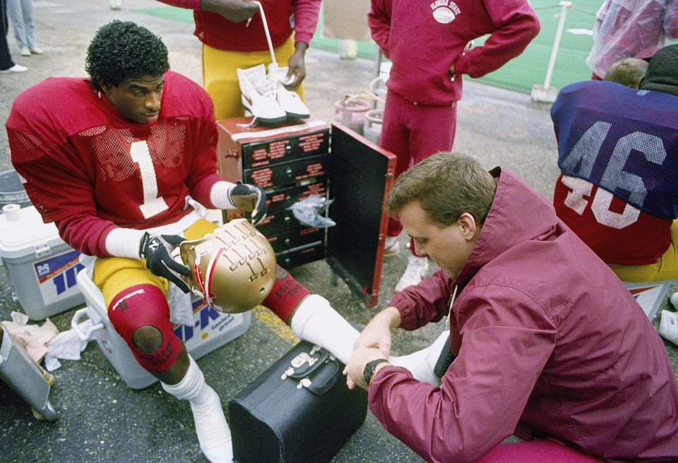Photo - Florida State cornerback Deion Sanders in 1988. AP ARCHIVE PHOTO