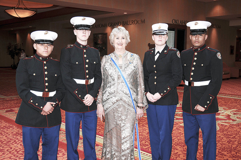 Photo - Cadet Gunnery Sergeant Keanu Duran, Cadet 1st Lt. Justin Sherman, State Regent Pat McFall, Cadet Captain Nicole Moore, Cadet Corporal Edgar Rosas. (Color Guard from MC Jr. ROTC from Grant High School) PHOTO PROVIDED