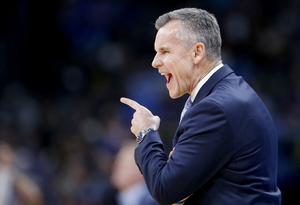 Photo - Oklahoma City head coach Billy Donovan coaches during the NBA game between the Oklahoma City Thunder and the Golden State Warriors at Chesapeake Energy Arena,   Saturday, Nov. 9, 2019.  [Sarah Phipps/The Oklahoman]