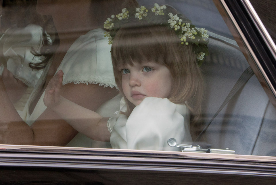 Photo - Bridesmaid Eliza Lopes, the granddaughter of the Duchess of Cornwall, leaves the Goring Hotel as they make their way to Westminster Abbey ahead of the Royal Wedding between Britain's Prince William and Kate Middleton, London, Friday, April, 29, 2011. (AP Photo/Joel Ryan, Pool) ORG XMIT: LENT106