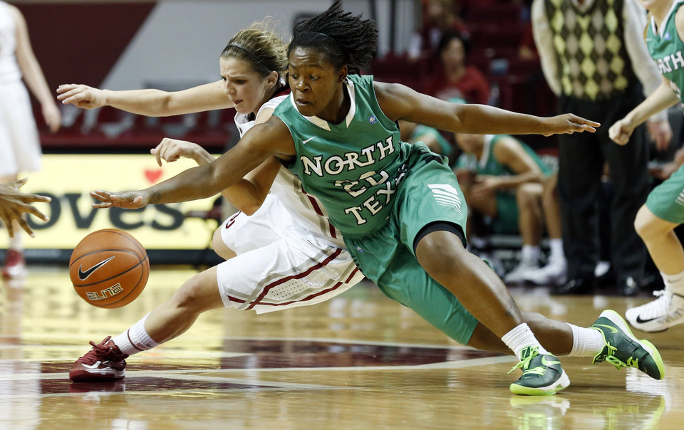 Oklahoma's Morgan Hook (10) and North Texas' BreAnna Dawkins (22) fight for a loose ball as the University of Oklahoma Sooners (OU) play the North Texas Mean Green in NCAA, women's college basketball at The Lloyd Noble Center on Thursday, Dec. 6, 2012  in Norman, Okla. Photo by Steve Sisney, The Oklahoman