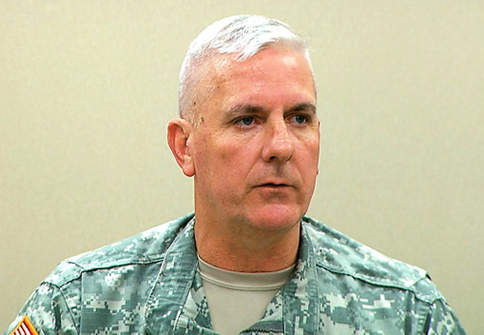 In this image from a video shot Tuesday, Col. Joe Ward, commander of the 45th Infantry Brigade Combat Team, announces Tuesday the 2011 deployment of the units 3,400 soldiers. Photos by Tim Money, The Oklahoman