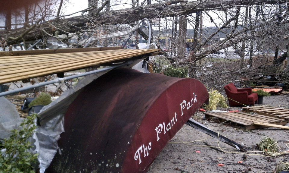 The Plant Place greenhouse lies destroyed after a reported tornado came through Toney, Ala., Friday, March 2, 2012. (AP Photo/The Huntsville Times, Eric Schultz) ORG XMIT: ALHUT106