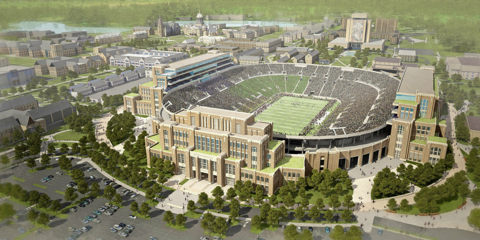 """Photo - In this artists rendering provided by The University of Notre Dame is the school's new football stadium. Notre Dame announced plans Wednesday, Jan. 29, 2014 to expand the school's 84-year-old football stadium, adding up to 4,000 premium seats and spending about $400 million to add buildings on three sides of the """"House that Rockne Built."""" (AP Photo/The University of Notre Dame)"""