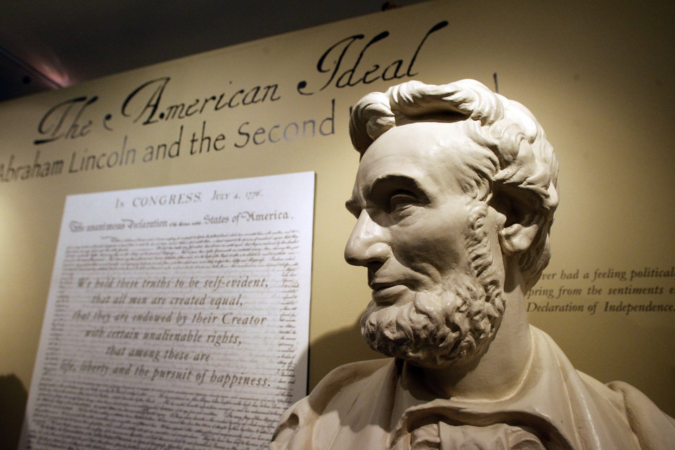 This Monday, Nov. 19, 2012 photo shows a bust of Abraham Lincoln at the Robert Todd Lincoln mansion Hildene in Manchester, VT. The Georgian Revival home was built in 1905 by Robert Todd Lincoln, the only one of the president\'s four children to survive to adulthood. (AP Photo/Toby Talbot)