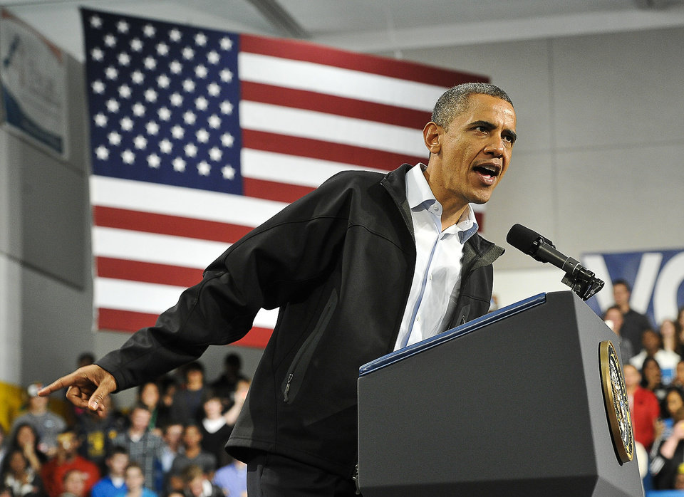 President Barack Obama speaks during a campaign rally at Springfield High School, Friday, Nov. 2, 2012 in Springfield, Ohio. (AP Photo/The Springfield News-Sun, Bill Lackey)