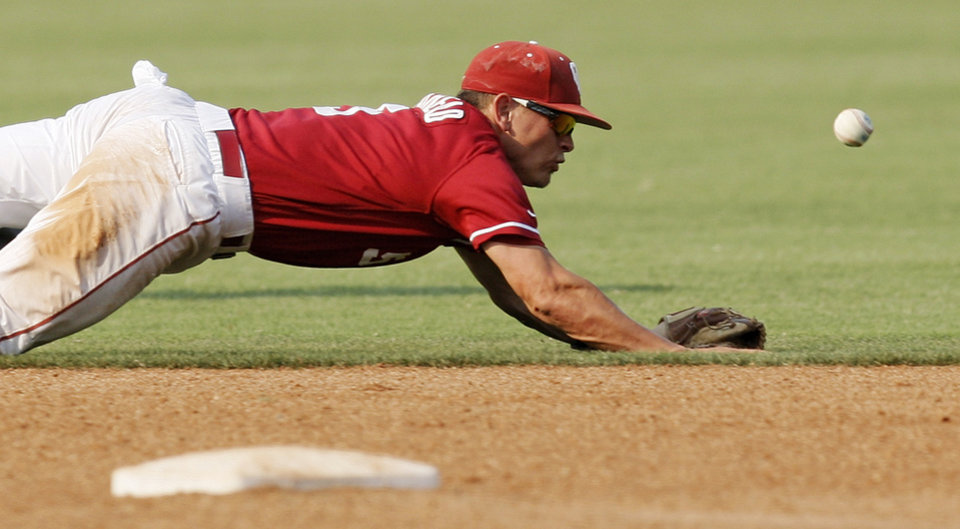 Photo - OU's Caleb Bushyhead (5) tries to field a ground ball in the seventh inning during a Big 12 Baseball Championship tournament game between the Oklahoma Sooners and Baylor Bears at the Chickasaw Bricktown Ballpark in Oklahoma City,Thursday, May 24, 2012. OU won, 3-2. Photo by Nate Billings, The Oklahoman
