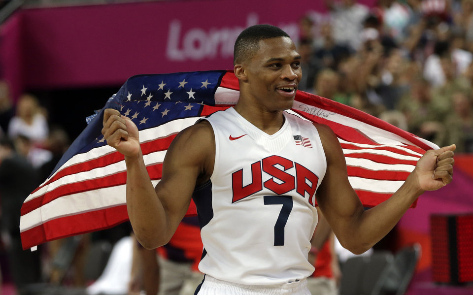 United States' Russell Westbrook celebrates after the men's gold medal basketball game at the 2012 Summer Olympics, Sunday, Aug. 12, 2012, in London. USA won 107-100. (AP Photo/Eric Gay)