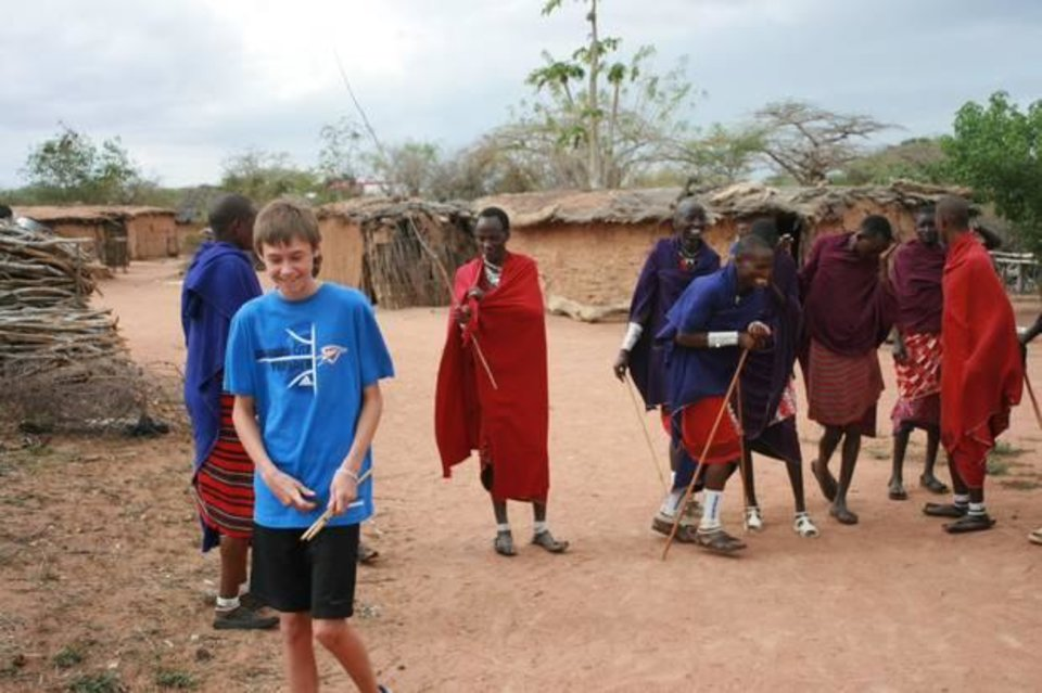 Landon Wilguess learned to make fire with the Masai tribe in Kenya. Fair trade: Landon showed them how to Thunder Up!