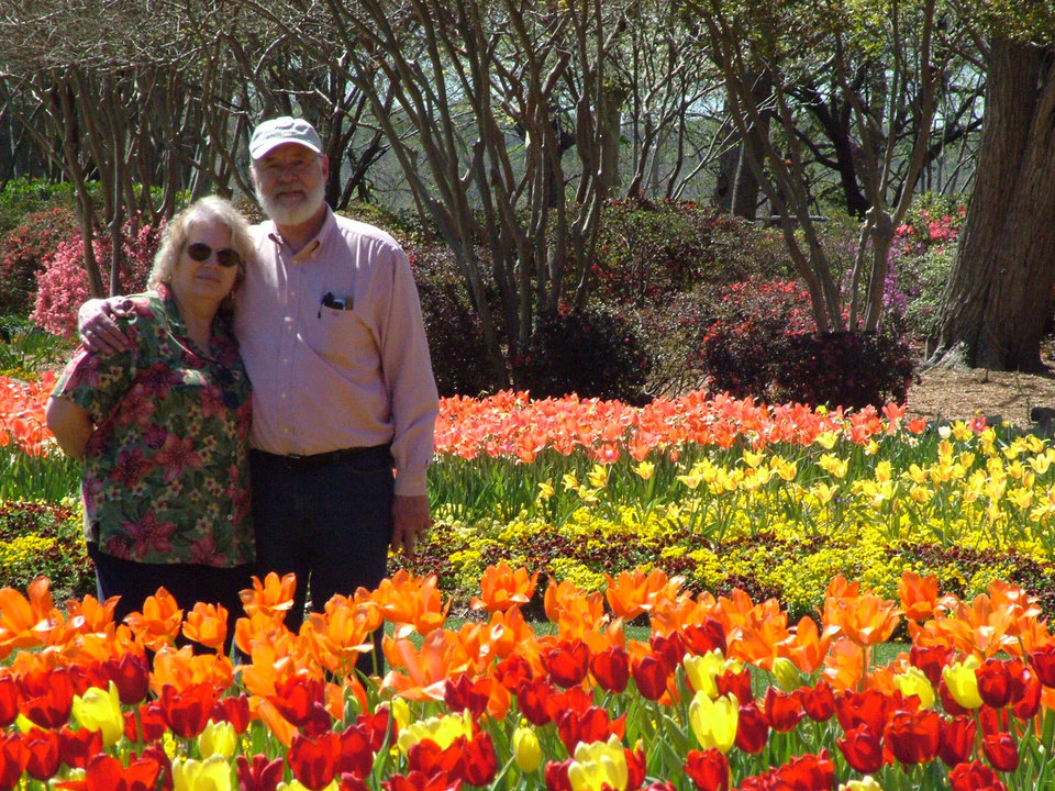 Sam and Mary Lou George of Harrah enjoyed the beauty of DallasBlooms on Monday, March 20. The botanical garden boasts more than 400,000 tulips plus azaleas, poppies and pansies and more all in bloom after a weekend of rain.<br/><b>Community Photo By:</b> Lin Archer<br/><b>Submitted By:</b> lin,