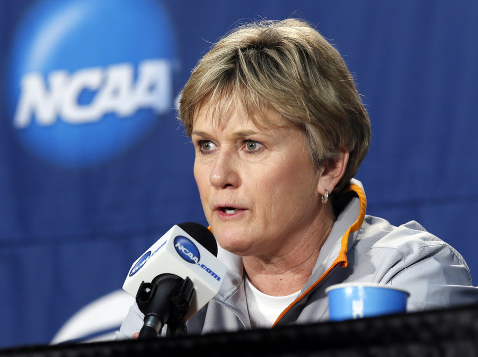 Photo - Tennessee coach Holly Warlick speaks to the media during the press conference and practice day at the Oklahoma City Regional for the NCAA women's college basketball tournament at Chesapeake Energy Arena in Oklahoma City, Saturday, March 30, 2013. Photo by Nate Billings, The Oklahoman
