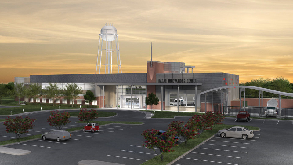 Left: University of Oklahoma officials broke ground on the university's new Radar Innovations Lab late last month. The lab will be the latest addition to OU's Research Campus.  Drawing PROVIDED