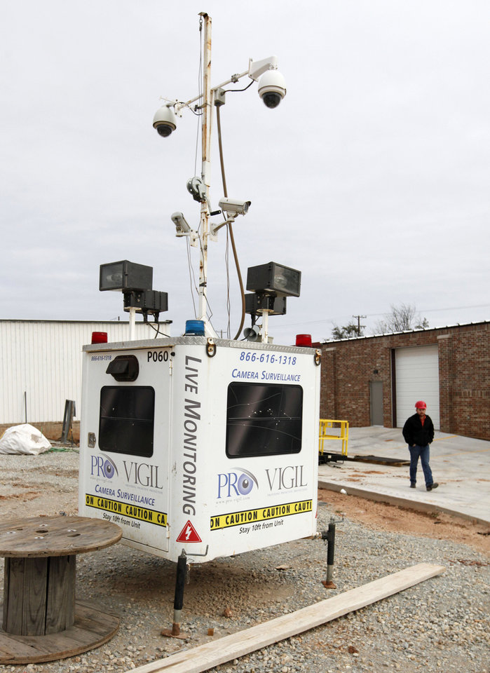 Photo -  Miller Tippens Construction uses a mobile camera surveillance system as one method of protecting their construction equipment in Oklahoma City. Photo by Paul Hellstern, The Oklahoman   PAUL HELLSTERN -  Oklahoman