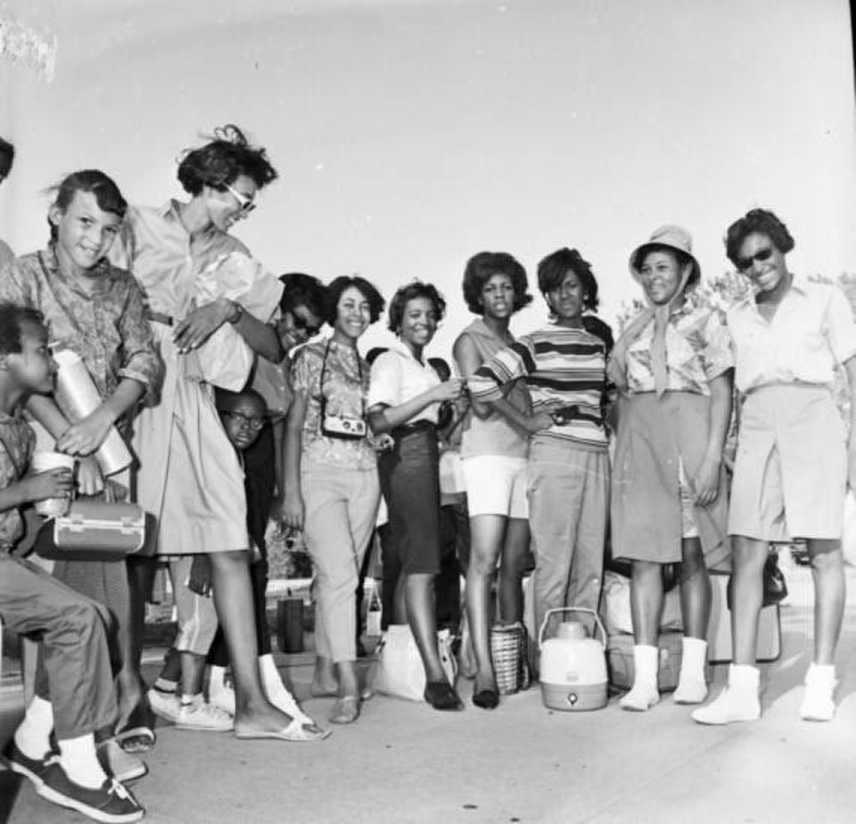 Photo - Joyce Henderson (striped shirt in front of water jug) poses for a picture in Oklahoma City in Aug. 1963 with fellow students of Clara Luper before embarking on a long road trip to Washington DC to see Martin Luther King give what would become known as the I have a Dream speech.  PROVIDED - PROVIDED