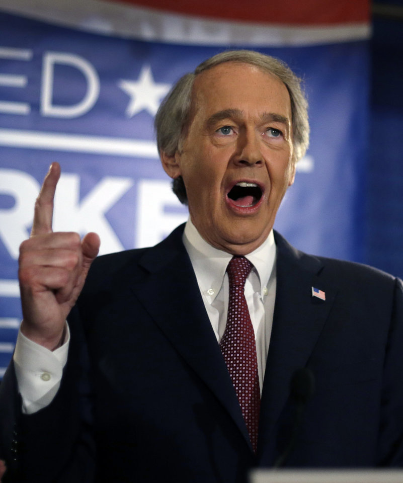 Photo - U.S. Senate candidate Ed Markey speaks to supporters in Boston, Tuesday, April 30, 2013 as he celebrates winning the Democratic primary for the special U.S. Senate election. (AP Photo/Elise Amendola)